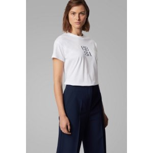 Hugo BossRegular-fit monogram top in recycled cotton