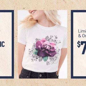 一律$7+满额免邮Aeropostale官网 图案T恤限时大促