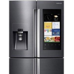 $3919 (原价$4899)内置摄像头连网今天截止:Samsung三星 法式双门智能冰箱  一款会说话的冰箱