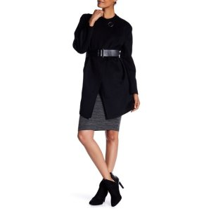 6a499693bf Diane von FurstenbergSolid Double Face Asymmetrical Placket Wool Blend Coat