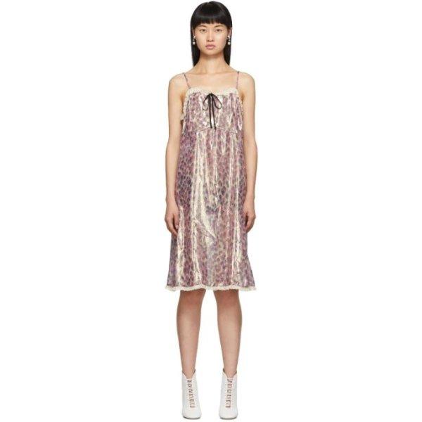 吊带豹纹裙