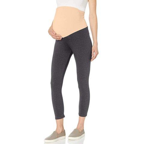 Motherhood Maternity Women's Maternity Essential Stretch Crop Length Secret Fit Belly Leggings, Charcoal