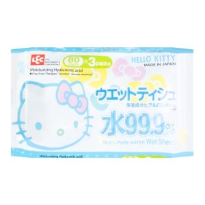 LEC 99.9% Pure Water Wet Wipes 80sheets * 3 packs- Hello Kitty