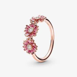 PandoraPink Daisy Flower Trio Ring