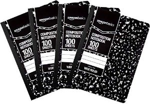 $5.87AmazonBasics Wide Ruled Composition Notebook 100-Sheet, Marble Black, 4-Pack