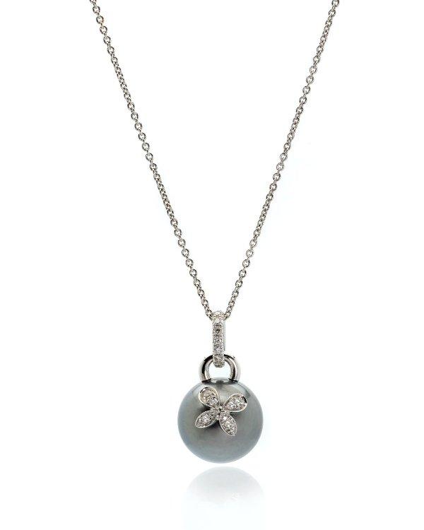 18K白金钻石黑珍珠项链