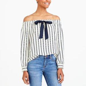 J.CrewPrinted off-the-shoulder bow top : FactoryWomen Shirts & Tops | Factory