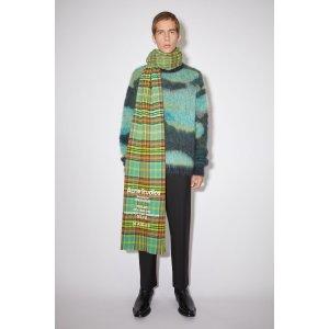 Acne Studios绿色格纹围巾