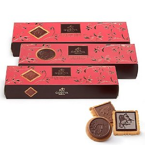 GodivaAssorted Chocolate Biscuits, Set of 3, 12 pc. each