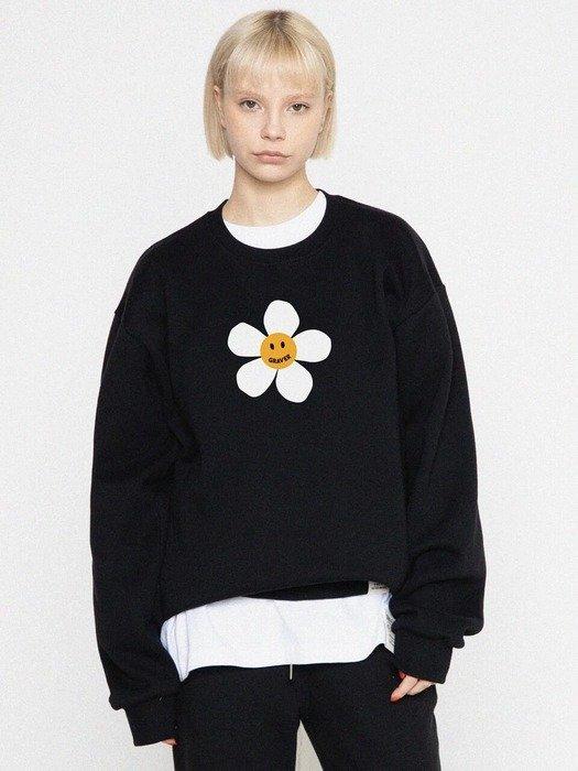 黑色花朵卫衣