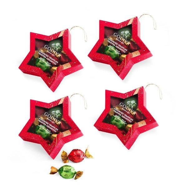 巧克力松露星星圣诞礼盒 8顆 4盒