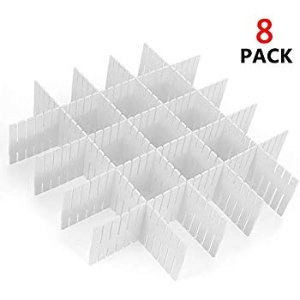 Amazon.com : ShineMe Drawer Dividers 8pcs Adjustable Plastic Divider Household Storage Thickening Sub-Grid Finishing Shelves for Home Tidy Closet Stationary Makeup Socks Underwear Scarves Organizer (White) : Office Products