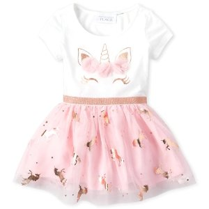 The Children's PlaceBaby And Toddler Girls Short Sleeve Unicorn Knit To Woven Tutu Dress