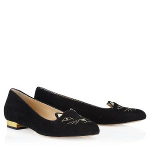 Charlotte OlympiaKitty Flats in Black and Gold - Flats | Charlotte Olympia