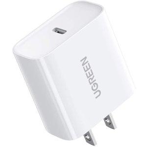 $14.44 (官方版$24.99)UGreen 20W USB-C-lightning 快充充电器 全新iPhone 13必备