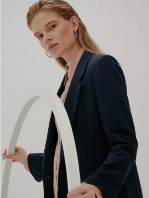 Frontrow [Drama Collection] Slit Cuffs Tailored Blazer_NAVY