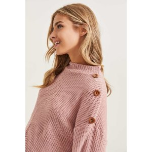ARDENEBuy 1 Get 1 50% OffChenille Mock Neck Sweater with Button Detail - Clothing | Ardene