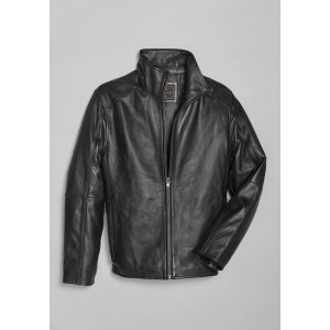 Reserve Collection Traditional Fit Leather Bomber Moto Jacke