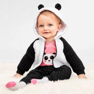 包邮 5折封顶 收可爱熊猫衫Children's Place 全站童装热卖,抓绒衫$4.99
