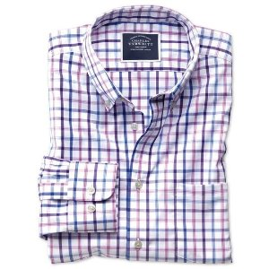 Charles TyrwhittSlim fit button-down non-iron poplin lilac multi check shirt