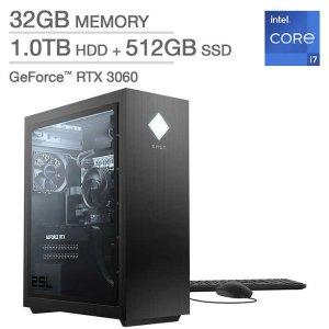 $1399.99HP OMEN 25L 台式机 (i7-11700F, 3060, 32GB, 512GB+1TB)