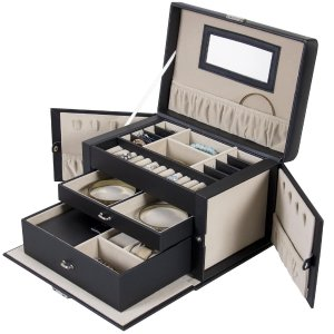 $27.99Best Choice Products Leather Jewelry Box w/ Velvet Interior - Black