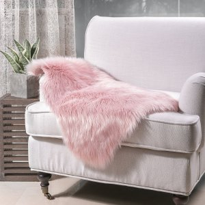 $12.99Ashler Soft Faux Sheepskin Fur Chair Couch Cover Pink Area Rug for Bedroom Floor Sofa Living Room 2 x 3 Feet