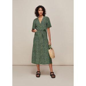 Green/Multi Spotted Animal Anita Dress | WHISTLES | Whistles