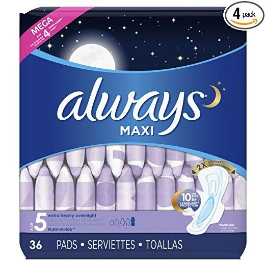 夜用超大量卫生巾,36个,4袋,共144个