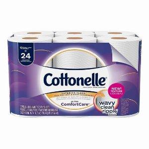 $5.99(原价$11.49)+免邮补货:Cottonelle Ultra Comfort Care 12卷双层卫生纸 手慢无!