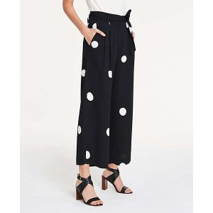 Ann TaylorDot Pleated Wide Leg Crop Pants | Ann Taylor