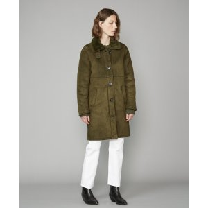 100%真皮 仅剩XS/S码墨绿色麂皮大衣