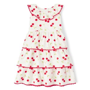 GymboreeGirls Sleeveless Cherry Print Poplin Tiered Dress - Very Cherry