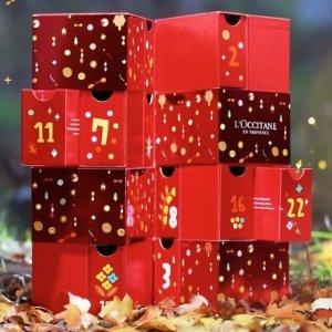 24件正装好礼(价值$500)L'Occitane官网 首次免费抽奖 送圣诞日历