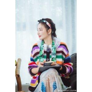 张雨绮同款羽毛手绘印花连衣裙