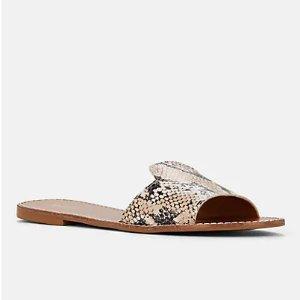 Barneys New YorkSnakeskin-Stamped Leather Slide Sandals Snakeskin-Stamped Leather Slide Sandals