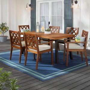 Hampton BayWillow Glen Farmhouse 7-Piece Wood Outdoor Patio Dining Set with Teak Finish and Beige Cushion