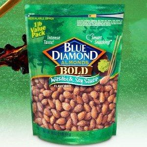 $5.99 凑单精品坚果Blue Diamond Almonds 美国大杏仁 芥末酱油口味 16oz