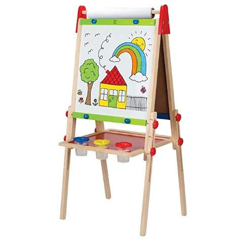 Award Winning All-in-One Wooden Kid's Art Easel with Paper Roll and Accessories