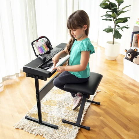 $104.99 + Free Shipping61-Key Beginners Electronic Keyboard Piano Set w/ 3 Modes, Microphone