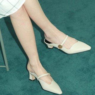 $142.20+包邮 立省$125RACHEL COX 奶油色方跟穆勒皮鞋