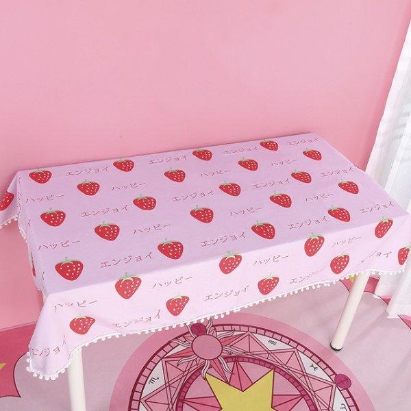 粉色草莓桌布 100*70cm