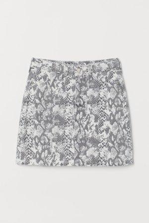 Denim Skirt - White/snakeskin-patterned - Ladies   H&M US