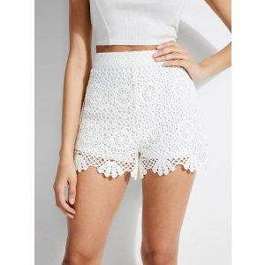 Olisa High-Rise Crochet Shorts at Guess