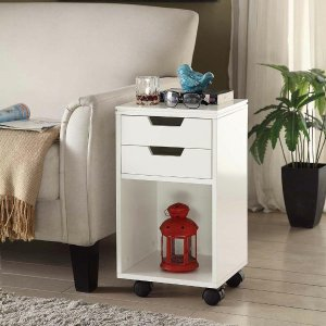 $23 Home Decorators Collection Mobile Storage Cart 2-Drawer and Cubby on Wheels in White & $23 Home Decorators Collection Mobile Storage Cart 2-Drawer and ...