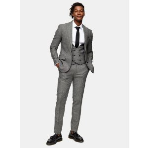 TopmanHERITAGE Gray Skinny Fit Double Breasted Suit Waistcoat