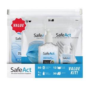 一律5折+包邮 3种套装可选独家:SafeAct 防护套装,含口罩、手套、消毒湿巾、免洗洗手液