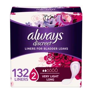 Discreet超薄132片仅$14.28Always Discreet, Infinity, Radiant, Maxi等多款卫生巾促销