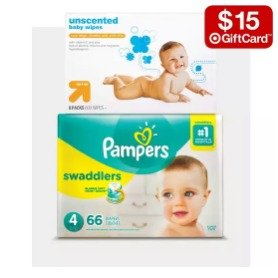 $15 gift card with $75select baby diapers items @ Target