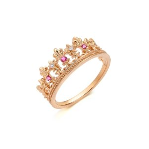 标价为港币,加币$56318K黄金红宝石皇冠戒指